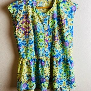 Lily White Sleeveless High-Low Floral Med Blouse